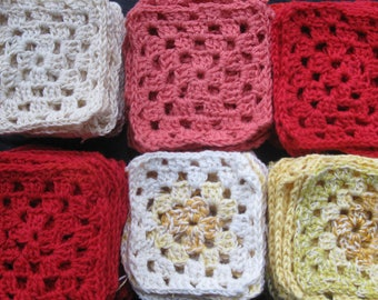 Set of 60 Crochet Squares. Handmade small cotton doily for DIY project.