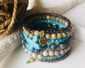 Blue skies after the storm - 7 loop cuff bracelet with jasper, smoky quartz, turquoise and Om charm