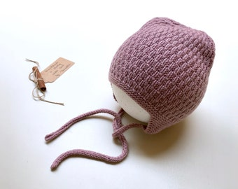 100% cashmere hand knitted hat, earflap hat,  color ombre rose hand knit, Size 12-24 months - ready to ship