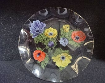 Very Pretty Chance Glass Fluted Plate/Medium/Poppies/Vintage/1960s