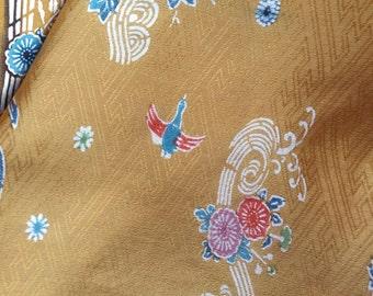 "Vintage Japanese  silk kimono fabric 92 cm x 36 cm bingata stencil dyed  36"" x 14"""