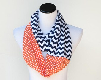 Denver broncos Florida gators Tennessee orange chevron polka dots infinity scarf orange navy blue colorblock infinity scarf, Halloween scarf