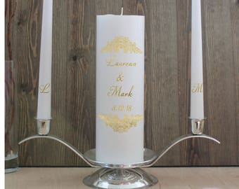 Unity ceremony Candle set Gold with crystals Ceremony Custom  Set Rustic Wedding Candle Made to order foil
