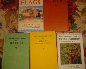 """Five Volumes of """"Observer's Books"""" Trees, Flags, Cacti, Furniture, and Sea Fishes"""