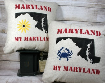 Throw Pillow - Maryland My Maryland, Black Eyed Susan, Blue Crab, Maryland State