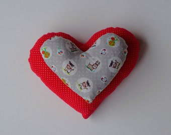 Double heart-grape seeds-Pain therapy-health heart-heat pillow-cooling pillow-gift for Mother's Day-farm motif-Red