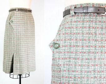 Vintage 1950s skirt . April Showers . dove grey wool skirt . pastel 1950s pencil skirt . flecked tweed skirt