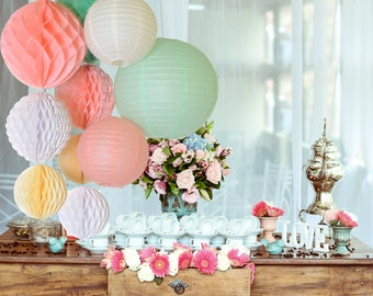 10 pcs Paper lantern Paper honeycomb flower Wedding Birthday Party Decorations