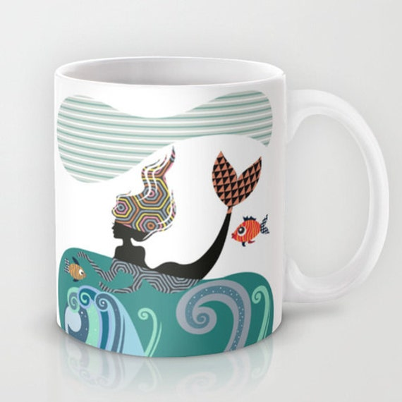 Mermaid Mug, Fish Mug, Mermaid Girl,  Ceramic Mug Mermaid, Marine Life,  Unique Coffee Mug, Mermaid Gift, Cool Coffee Mug