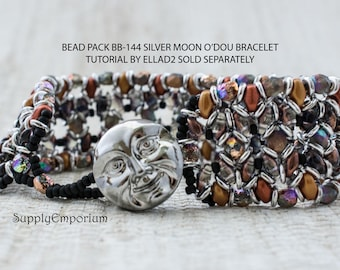Bead Pack BB144 Silver Moon Metallic O'Duo Bracelet, Tutorial by Ellad2 Sold Separately, BB-144 Silver Moon O'Duo Bracelet Bead Pack