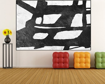 black and white wall art, Large Original abstract Painting on canvas, Abstract Wall art, canvas painting home decor, minimalist wall art