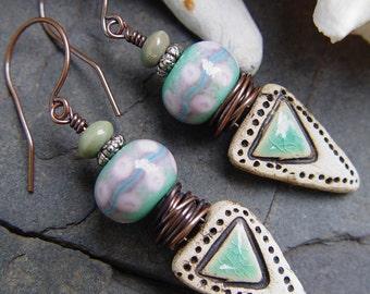 Elowen - Stoneware and Lampwork Boho Earrings