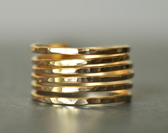 THICK BAND SIMPLICITY (closed band) Adjustable 14K gold filled wire ring
