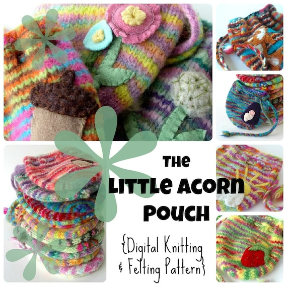 Pdf Knitting Pattern The Little Acorn Pouch Digital Tutorial For