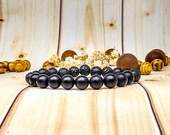 Travel gifts Black jewelry Black onyx bracelet Black gemstone Mens beaded bracelet Husband gift Gothic jewelry Man jewelry Boyfriend Lava