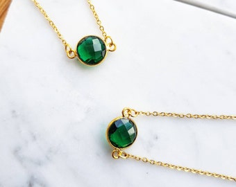 Green Emerald Necklace - Gold Green Emerald Necklace - May Birthstone necklace - Layering necklaces - May emerald birthstone necklace