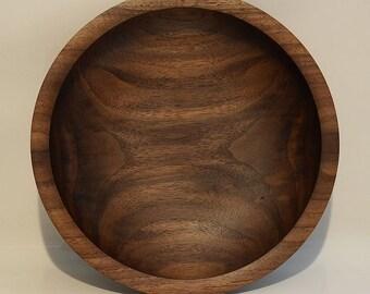 """Black Walnut Wooden Bowl, 9-5/8"""" (B93)"""