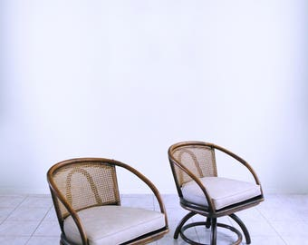 Mid Century RATTAN SWIVEL CHAIRS W/ Cane Screens Boho Mod Tiki Club Chairs