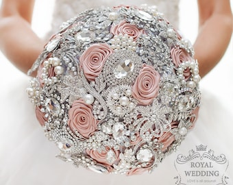 Bridal Bouquet Wedding Brooch Bouquet Wedding Bouquet Pink Silver Bouquet Pink Bouquet Crystal Bouquet Bridesmaids Bouquet Pearls Bouquet