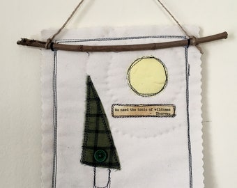 Mini tree quilt of scraps and thread sketching