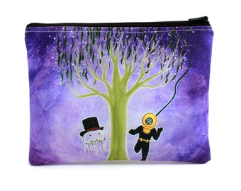 You Jelly? - Zipper Pouch - Jellyfish in Top Hat with Deep Sea Diver - Art by Marcia Furman