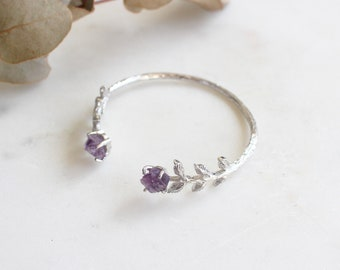 Natural Gemstone Amethyst Leaves Bangle in Silver. Handcrafted Dainty Luxury Gift Perfect for All Occasions.