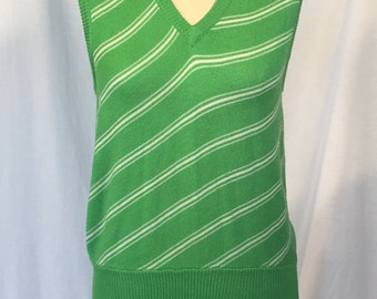 1970's Lady Manhattan Green and Cream Sweater Vest
