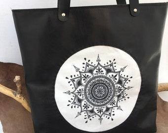 Mandala Leather Bag, Shoulder bag, canvas leather bag, Large Leather bag, Vintage Brown leather bag, handmade Tote bag, ready for shipping