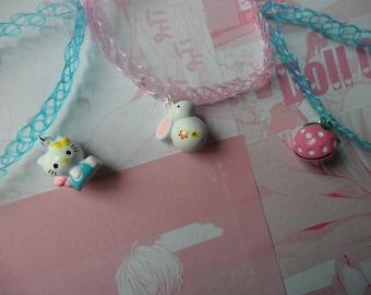 Kawai bells on tattoo chokers- pink or blue 90s tattoo chokers .  (pastel goth, fairy kei, kawaii)