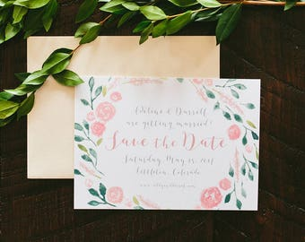 Adeline Painted Florals Wedding Save the Date