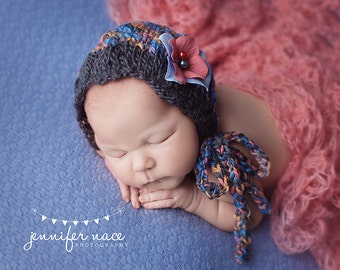 Lace Knit Newborn Bonnet Photo Prop Baby Girl Hat Coming Home Cap Wool Organic Infant Going Home Outfit