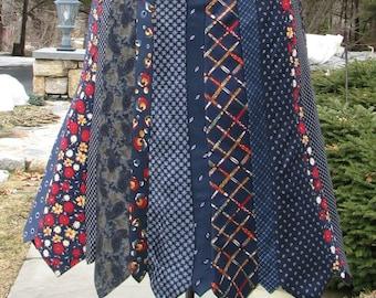 Silk Necktie Skirt - Repurposed Necktie Skirt - Silk Skirt - Symphony in Blue