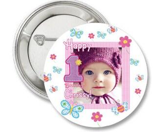 Hugs & Stitches Custom Birthday Photo Pinback Button-3.5 inches