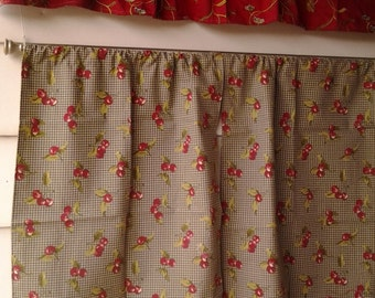 Cherry curtains in green and burgundy with burgundy valance CLEARANCE!!