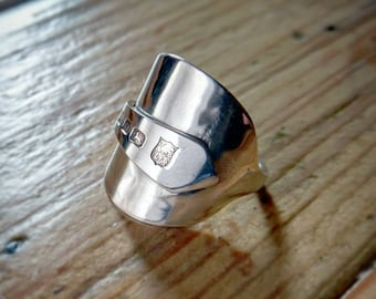 Beautiful Ladies vintage Silver Spoon Ring - Upcycled Jewelry - Size S 1/2 (UK size)