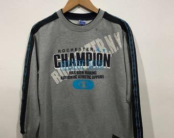 Vintage 90s Champion Big Logo Crewneck Sweatshirt  Size M Jumper Hiking Hip Hop Swag