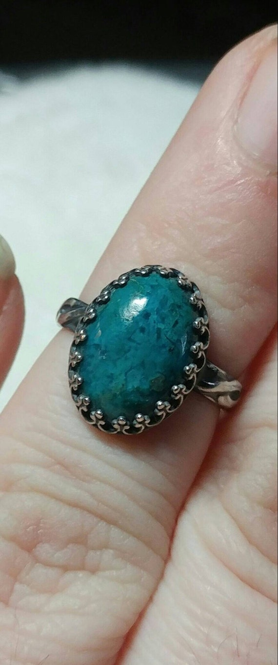 Victorian Blue Stone Ring | Chrysocolla Ring | Sterling Silver Ring Sz 5 | Blue Green Gemstone Ring | Ocean Blue Statement Ring