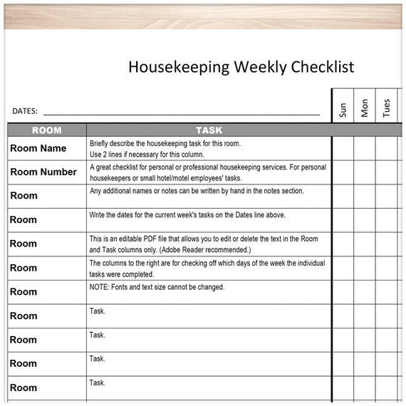 Printable Housekeeping Weekly Checklist   Editable PDF   Personal  Housekeeper Or Small Hotel Motel Employee Task List   PDF Instant Download  Employee Task List