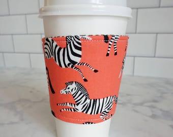 Reusable Coffee Sleeve-Zebra Print