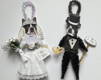 BostonTerrier BRIDE & GROOM ornaments Wedding Dog ornaments vintage style chenille ORNAMENTS set of 2
