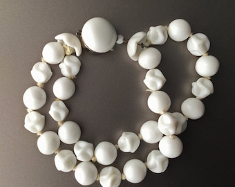 Pure White Double Strand Milk Glass Beaded Bracelet - Multi-Strand - Made in Germany