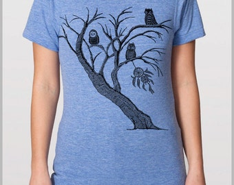 Dreamcatcher Tree Owls Men's T Shirt Nature Tshirt American Apparel XS, S, M, L, XL Full Spectrum Apparel
