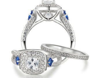 New 1.2 Ct Special Blue Side Stones Solid 925 Sterling Silver Halo Wedding Rings Engagement Band Jewelry For Women