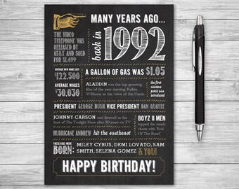 5x7 - 26th Birthday Printable Folding Greeting Card, Many Years Ago Back in 1992, Instant Digital Download, DIY Print at Home, Chalk
