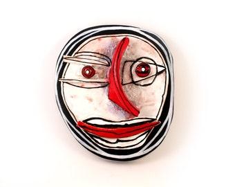 Abstract art, Abstract Face, Ceramic wall art, Crazy art, Ceramic mask, Man mask