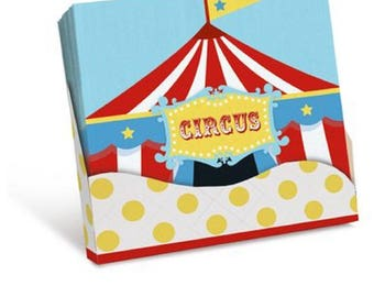 CIRCUS Napkin 20 units / Circus Theme Party Supplies Blue and Red