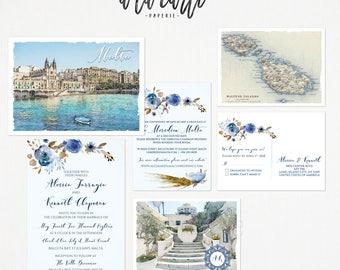 Destination wedding invitation Malta Mediterranean invitation set Balluta Bay Valletta - Europeen island wedding Deposit Payment