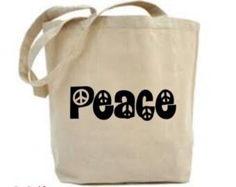 Peace Bag, Peace Tote Bag, Peace Lover Gift, Peace Symbol, Cloth Bag, Vegan Gift, Give Peace A Chance, Market Bag, Shopping Bag,