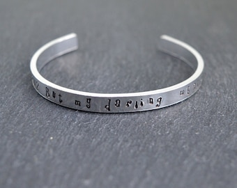 What If I Fall? Motivational Quote Hand Stamped Aluminium Bangle CWtChUS Hypoallergenic Adjustable Lightweight Silver Tone Customisable