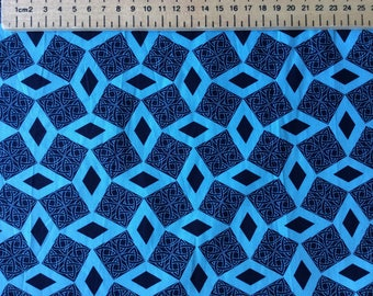 High quality cotton poplin, blue geometrical tribal or Japanese print